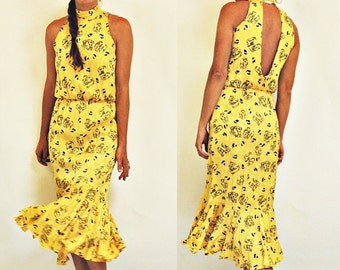 SHIPPING DELAY sale  1980s Yellow Printed Open Back Mermaid Tail Dress