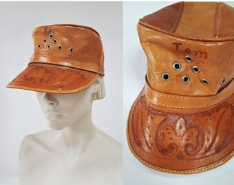 SHIPPING DELAY 1970s Tooled Leather Paraguay Souvenir Cap
