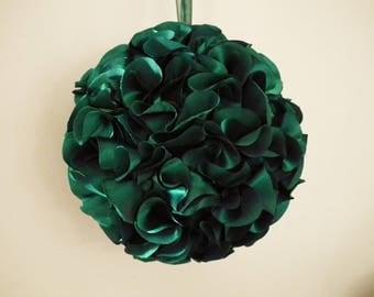 "DARK GREEN kissing ball, 8"" green satin pomander, floral ball, flower girl basket alternative, hanging decoration - ready to ship"