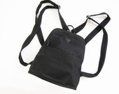 GUESS Mini Backpack / 90s Mini Backback / Black Nylon Vegan Small Backpack Purse
