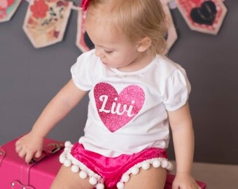 Hot Pink Crushed Velvet Pom Pom Bloomers Valentine Diaper Cover