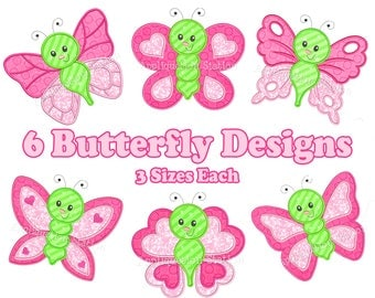 Cute Bugzee Butterfly Set of 6 Butterflies Applique Machine Embroidery Design girl baby insect bug INSTANT DOWNLOAD