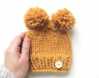 Double Pompom Chunky Knitted Hat, Baby Hat, Double Pom Pom Newborn Hat, Newborn Photo Prop Double Pom Poms, Yellow Ochre