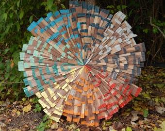 Colorful Reclaimed Wood Art, Pinwheel Starburst, Midcentury Modern Art READY TO SHIP
