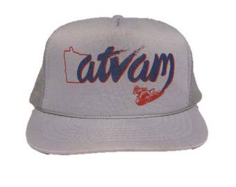 Vintage Minnesota atv am Trucker Hat - snapback style - Silver with State of MN outline and Red atv