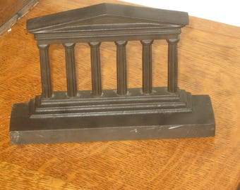 Parthenon Bookend , Greek Architectural Column Bookend , Iron Bookend