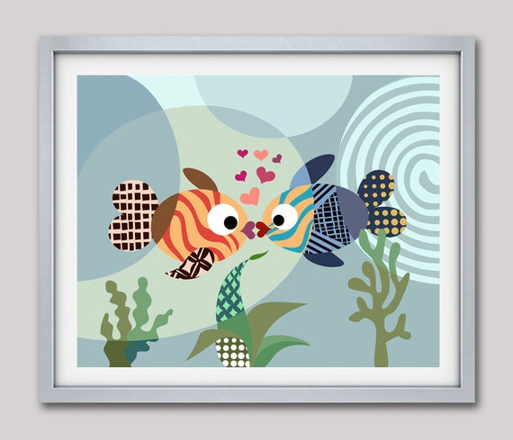 Fish Decor, Fish Art Print, Love Art Print, Fish Poster, Fish Painting, Kissing Fish, Girls Room Art, Girls Wall Art