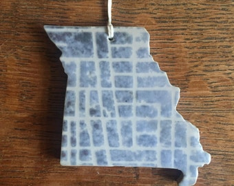 Blue and White Missouri Ornament with Street Map Motif