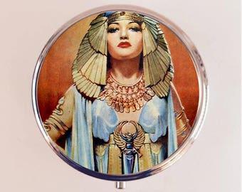 Cleopatra Flapper Pill Box Case Pillbox Holder Trinket Stash Box Art Deco 1920s Jazz Age Egyptian