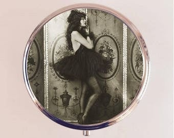 Flapper Ziegfeld Follies Pill Box Case Pillbox Holder Trinket Stash Box Art Deco Jazz Age Roaring 1920s Ballerina Tutu