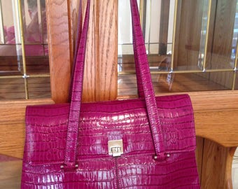 "Brand New--Classic Luxury Mary Kay ""Raspberry"" Leather-Patent Shoulder Handbag"