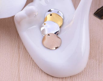 Nickel Free -  High Quality Wave Round Brass Lovely Charm / Pendant / Connector - PA259