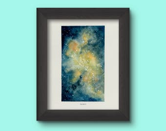 Taurus, Zodiac Sign, Watercolor Print, 5x7, 8x10, Wall Art, Galaxy, Constellation, Stars, Astrology, Astronomy, Gift, Giclee Print