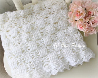 White Lace Spiders Baby Blanket Crochet Pattern, Baby Afghan, Baby Christening Shawl, Easy Crochet Pattern