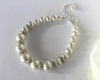 Pearl Wedding Bracelet, Bridal Bracelet, Ivory Bracelet, Pearl Bracelet, Pearl Bracelet Bridesmaid, Bridesmaid Gift, Bridesmaid Bracelet