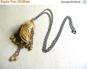 Bohemian Horn Necklace - Perfume Locket Necklace - Vintage Estee Lauder Necklace - Boho Necklace