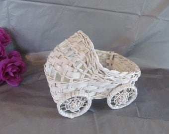 Vintage Small Wicker Baby Carriage for Baby Shower Centerpiece or Decoration