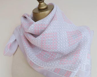 PINK blush vintage scarf, square silk scarf, check silk scarf, silk hair wrap,feminine square scarf, spring accessories,  ladies silk carre
