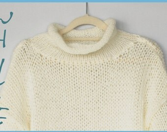 White Mohair Sweater, Womens Knit Sweater, Off-White Pullover