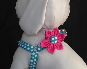 Step in Dog Harness Flower Set / Teal And White Polka Dot - Size XXS, XS, S, M