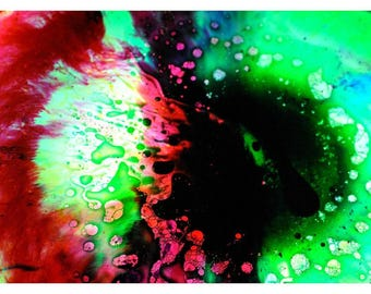 P96 - Mint Magenta Lime Fuchsia Bubbles Liquid Lightshow Postcard, Psychedelic Hippie Notecard Stationary for Mailing