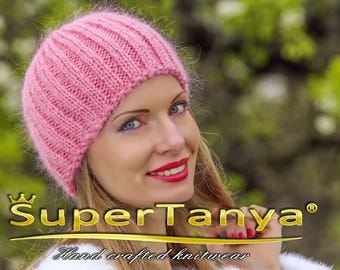 Designer handmade mohair beanie rose pink hand knitted hat by SuperTanya