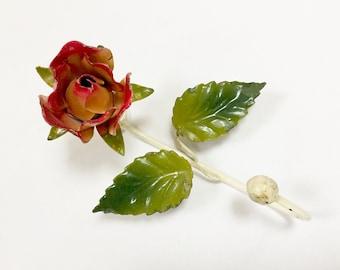 ITALIAN ROSE HOOK - Tole Vintage - Made in Italy - Leaves - Toleware - Hanger - Metal Painted -