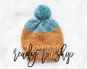 Color Block Knit Hat To Ship Hand Knit Handmade Baby Hat Beanie