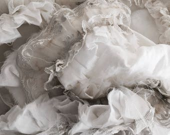 Stunning hand made white linen petticoat loads of ruffles throw tablecloth antique grey ombre lace tattered edge rachel ashwell shabby chic