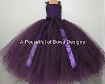 Eggplant Plum Flower Girl Tutu Dress, Long Tulle Dress, Girls Ball Gown, Girls Formal Dress