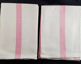 Pair of Vintage Linen? Pink/White Dishtowels