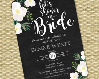 Printable Bridal Shower Invitation Chalkboard Floral White Roses Bridal Tea Shower the Bride ANY EVENT