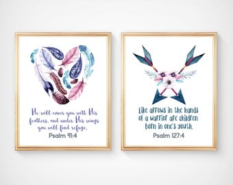 Bible Verses Nursery Prints, Baby Watercolour Art Prints, He will cover you with His Feathers, like arrows in the hands art print,  A-2039