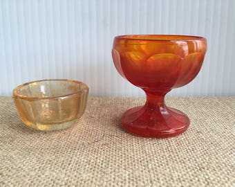 Nice lot of two orange color glass salt dips mini footed compote salt cellars imperial Anaheim 1969