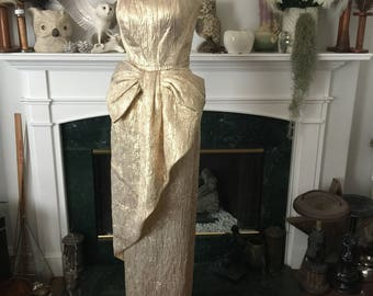 Gold Bombshell 80s Victor Costa Party Dress
