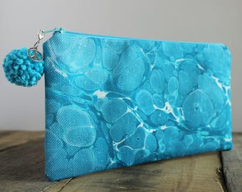 Out of the Blue Hand Marbled Zip Pouch, Cosmetic Pencil Makeup Bag Pouch Case for Kids College School Teens Women Organize