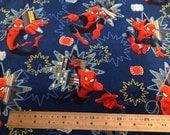 Spiderman Marvel Blue Fabric Fat Quarter 100% Cotton