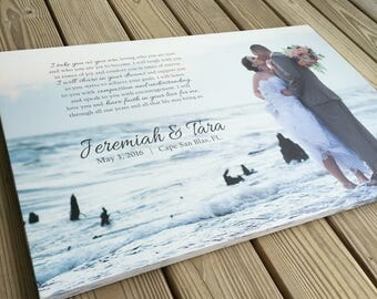 Photo on Canvas Personalized with words, Wedding Vows or Song Lyrics, Romantic for the bedroom,  Fun and Unique Anniversary Gift