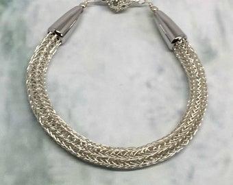 Silver viking knit ladies bracelet, pave magnet