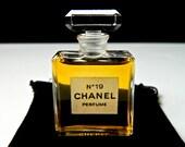 RESERVE Scott CHANEL No 19 Pure Perfume Rare .33 oz (10 ml) Crystal Stopper Full Fresh Fabulous Gift Bag