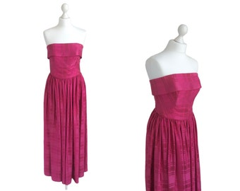 Super Rare Horrockses Dress - Strapless 1950's Evening Dress - Fuchsia Pink Satin Ball Gown - 50's Vintage Dress
