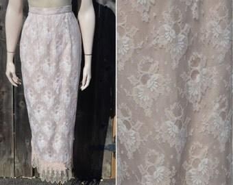 Designer Skirt, Women's Skirt, Size 8, Lorrie Kabala Vintage Skirt, Lace Skirt, Pale Pink Skirt, Light Pink Skirt, Size 6, Size 4