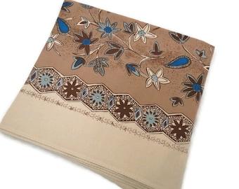 California Hand Prints Tablecloth - Brown Blue Tablecloth - Vintage Floral Tablecloth -  Glamper Glamping Decor - Free Shipping - 2MTT17