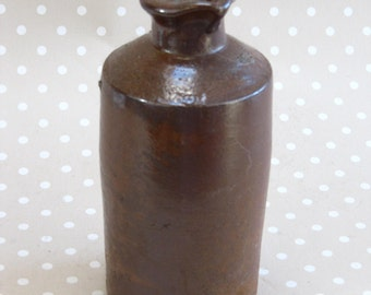 Vintage Earthenware Stoneware Brown Flower Posey Jug Vase