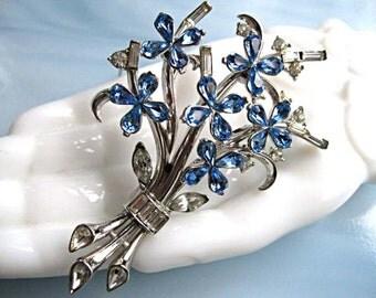 Trifari Flower Brooch, Blue Rhinestones Bouquet, Baguettes and Pear Teardrop Stones, Silver Rhodium Floral Spray, Pat Pend
