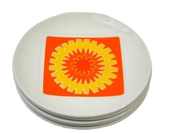 Mid Century Modern Bread Plates Orange & Yellow Burst by Johnson Bros