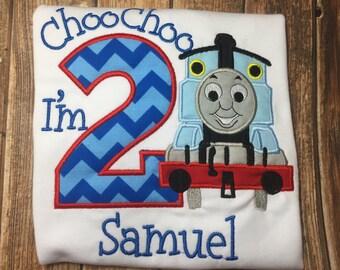 Custom boys thomas the train birthday shirt