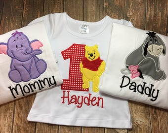 Winnie the Pooh birthday shirts with matching parent shirts