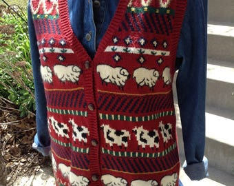 Vintage hipster kitsch 80s ladies farm animals sheep sweater vest size large free domestic shipping