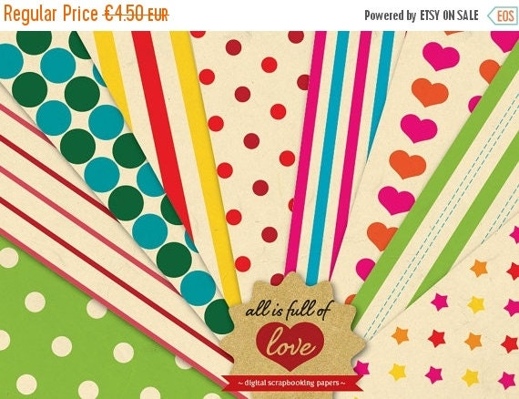 80% OFF Rainbow Papers Digital Scrapbooking Paper Pack Vintage Background Sheets Valentines Digital Paper Carnival fair backgrounds hearts